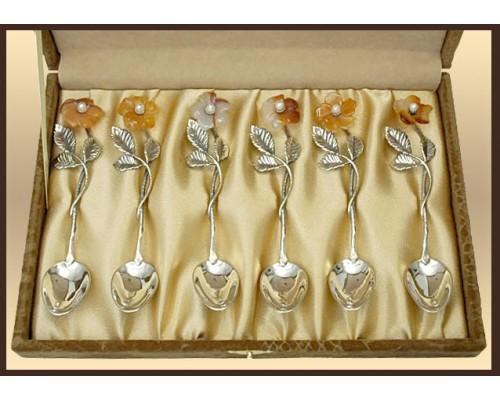 """Набор серебряных ложек """"Каменный цветок"""" 6 шт."""